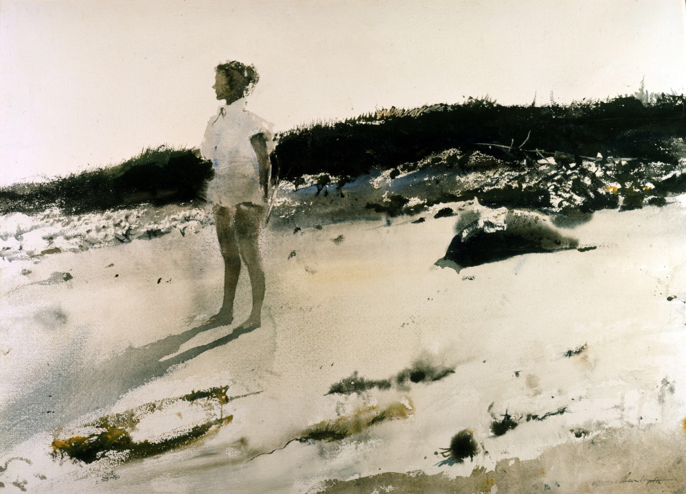 "Andrew Wyeth's  ""Carol on the Beach,"" 1950, watercolor."