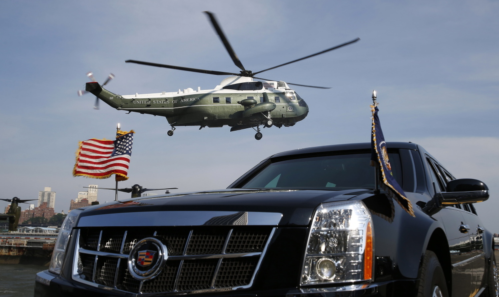 Marine One lands behind the presidential limousine as President Obama arrives in New York City last month. When bidding opened for the contract to make another of these helicopters, only one company came forward. Pentagon acquisitions officials say competition would drive prices down, but the percentage of competed contracts is down.
