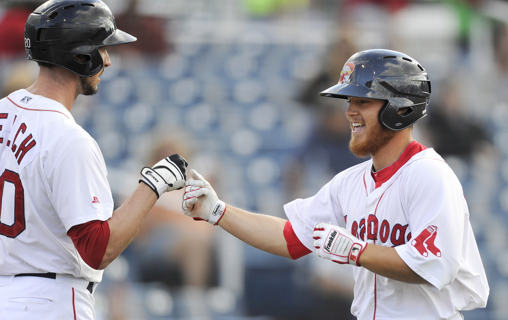 Size hasn't mattered for Sean Coyle of the Portland Sea Dogs, right, who is generously listed as 5-foot-8 in the Red Sox media guide. What matters is his grit and dedication to the game that's made him a major league prospect.