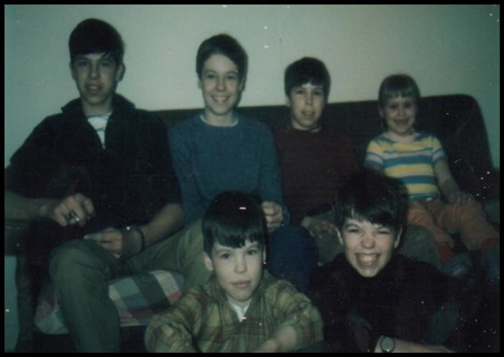The Michaud siblings. Jim, Mike, Jerry, Lynne. In front, Rob and Terry.