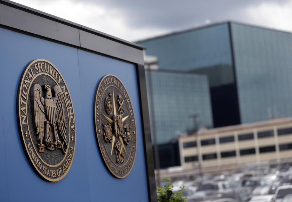 In this June 6, 2013, file photo, shows plaques outside the National Security Ageny (NSA) campus in Fort Meade, Md.