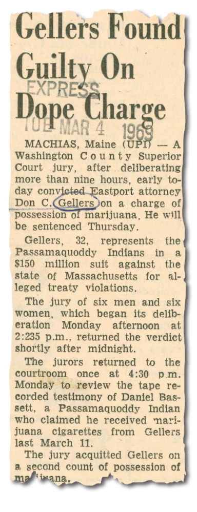Article on Don Gellers verdict published in the Press Herald on March 4, 1969.