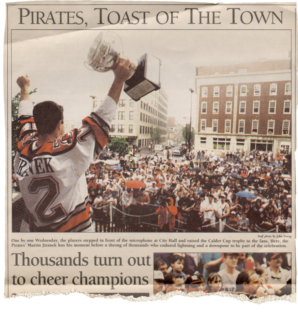 The sports section of the Portland Press Herald displayed the victory celebration after the Pirates won the Calder Cup in 1994.