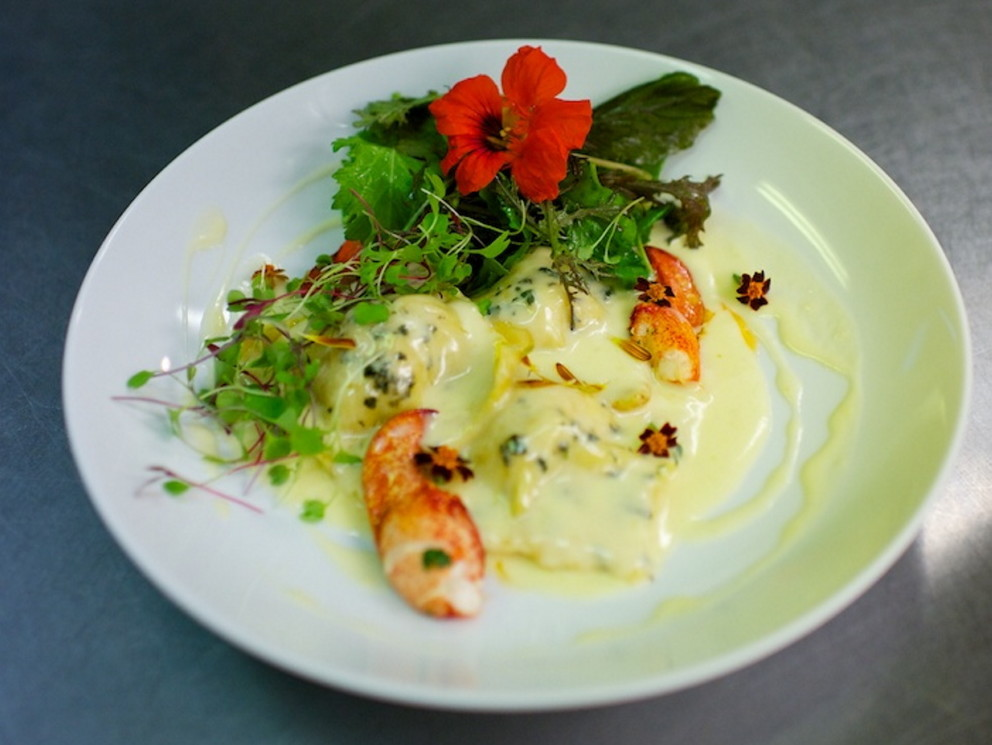 Chef Devin Finigan's lobster ravioli.