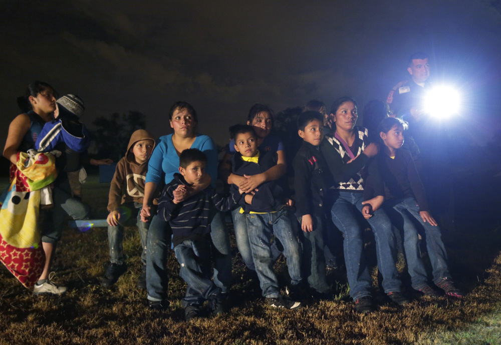 A group of immigrants from Honduras and El Salvador who crossed the U.S.-Mexico border illegally was stopped last month in Granjeno, Texas.