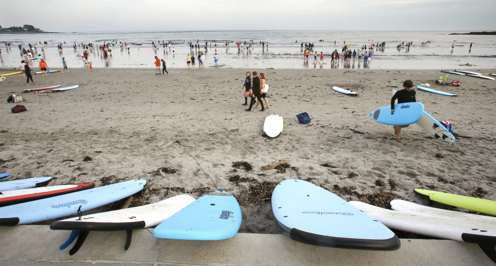 Almost 300 people turned out for Special Surfer Night at Gooch's Beach in Kennebunk on June 17. Gregory Rec/Staff Photographer