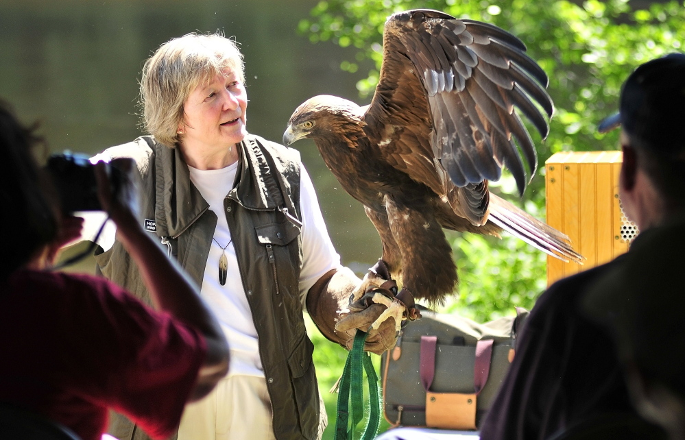 Wind Over Wings founder Hope Douglas talks about a golden eagle named Skywalker during an educational event Saturday on Swan Island.