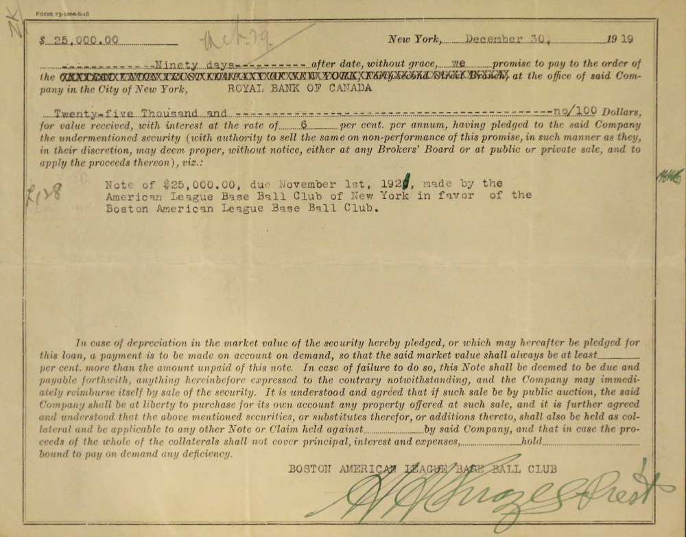 This photo shows the 1919 promissory note from the New York Yankees to the Boston Red Sox in payment for the sale of Babe Ruth.