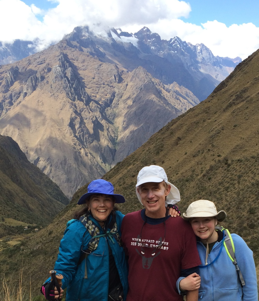 Brian Delaney on vacation earlier this summer in Peru with his wife, Kristine Hoyt, and daughter, Hana, 14.