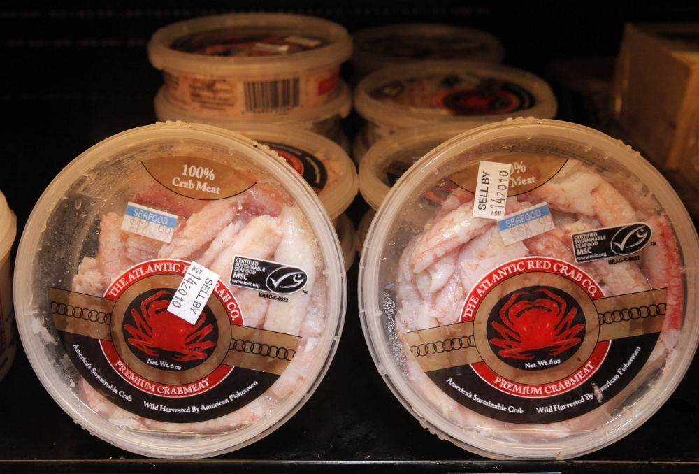 Fresh crabmeat processed by Atlantic Red Crab Co.   Gregory Rec/Staff Photographer