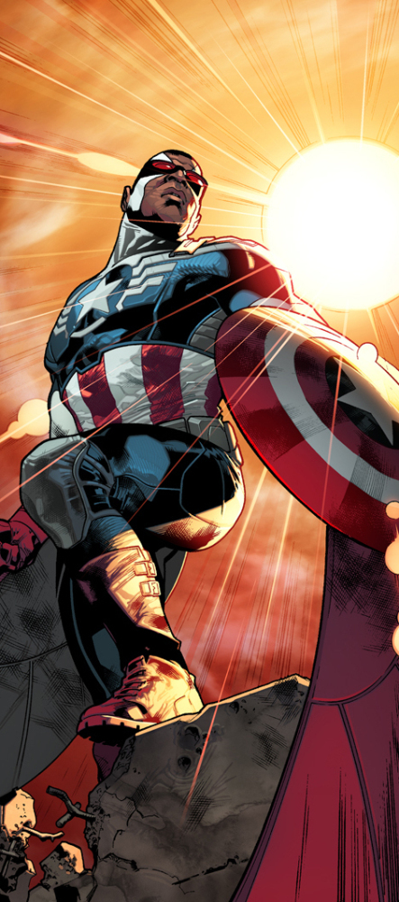 "From Steve Rogers' falling hands, the Captain America torch will pass to Sam ""The Falcon"" Wilson."