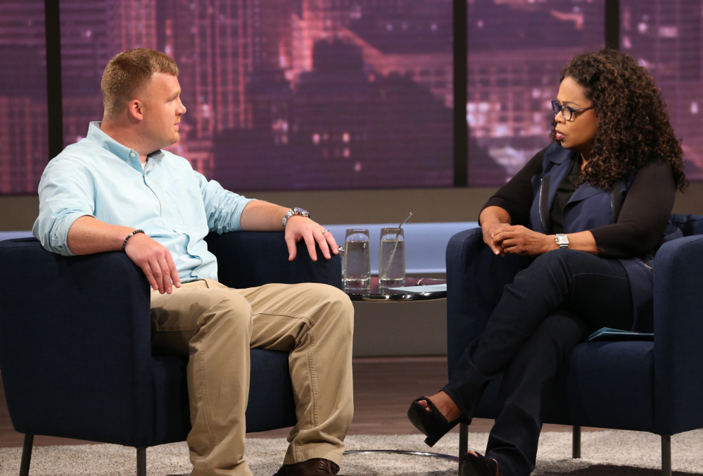 "Matt Sandusky tells Oprah Winfrey that his overnight visits at the Sandusky home were fine, ""except for one part, bedtime."""