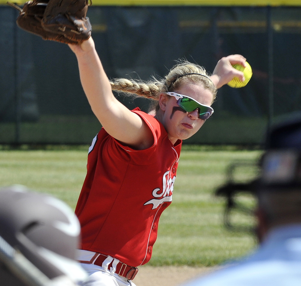 Alyssa Williamson wasn't able to pitch Scarborough to a second straight Class A state championship, as the Red Storm lost in the Western Maine final. But she was one of the most feared hitters in the state with a .483 average, seven homers and 30 RBI.