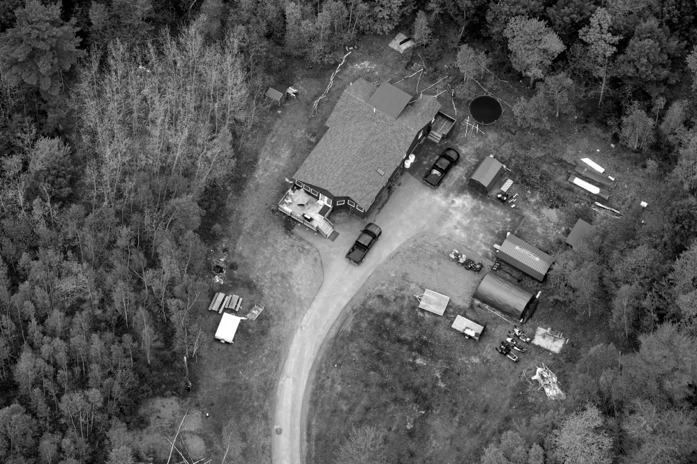 An aerial photograph shows the home of Billy Nicholas, former chief and current tribal game warden of the Passamaquoddy tribe at Indian Township. The ex-governor was a charismatic figure with a checkered past.