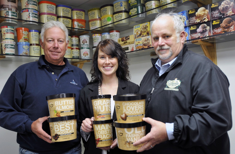Roger Gifford, Lindsay Gifford-Skilling and John Gifford are shown at Gifford's Ice Cream in Skowhegan. Gifford's was served at the office of Maine Sen. Angus King as the company works to open a new market in Washington.