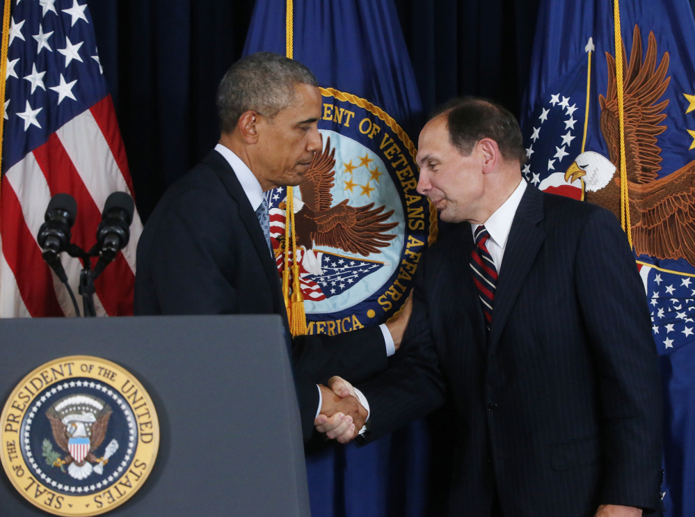President Obama is seen with Robert McDonald, his nominee as the next Veterans Affairs secretary. If McDonald is confirmed, he will take over an agency that has been rocked by allegations of shoddy care and a culture of retaliation against whistleblowers.