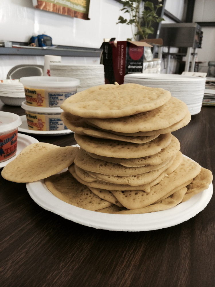 "Ployes are not flipped like pancakes. If you flip them, says Dumais, ""It means you've failed."""