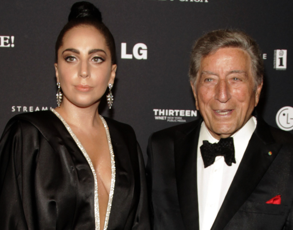 """Recording artists Lady Gaga, left, and Tony Bennett, attend a Tony Bennett and Lady Gaga concert taping on Monday in New York. Gaga said jazz is """"easier for me than anything else."""""""