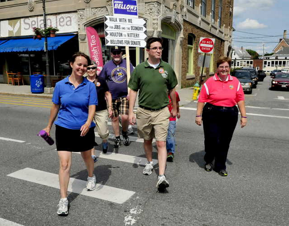 Democratic U.S. Senate candidate Shenna Bellows walks Thursday in downtown Waterville, where she touted an endorsement from Maine's largest labor organization.