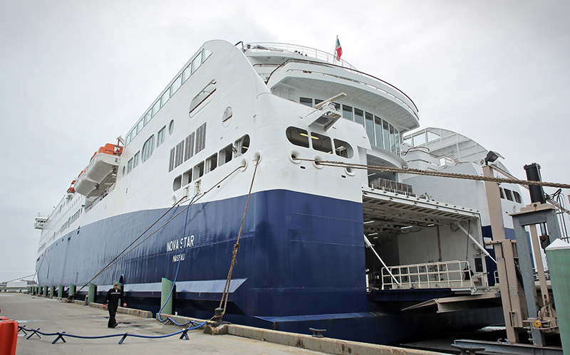 The Nova Star cruise ship sits in port a few hours before its maiden voyage, in Portland on May 15, 2014. The ferry carried an average of 112 passengers per trip in June, up slightly from May but still just one-tenth of its capacity. In July, the ferry carried an average of 217 passengers per trip.
