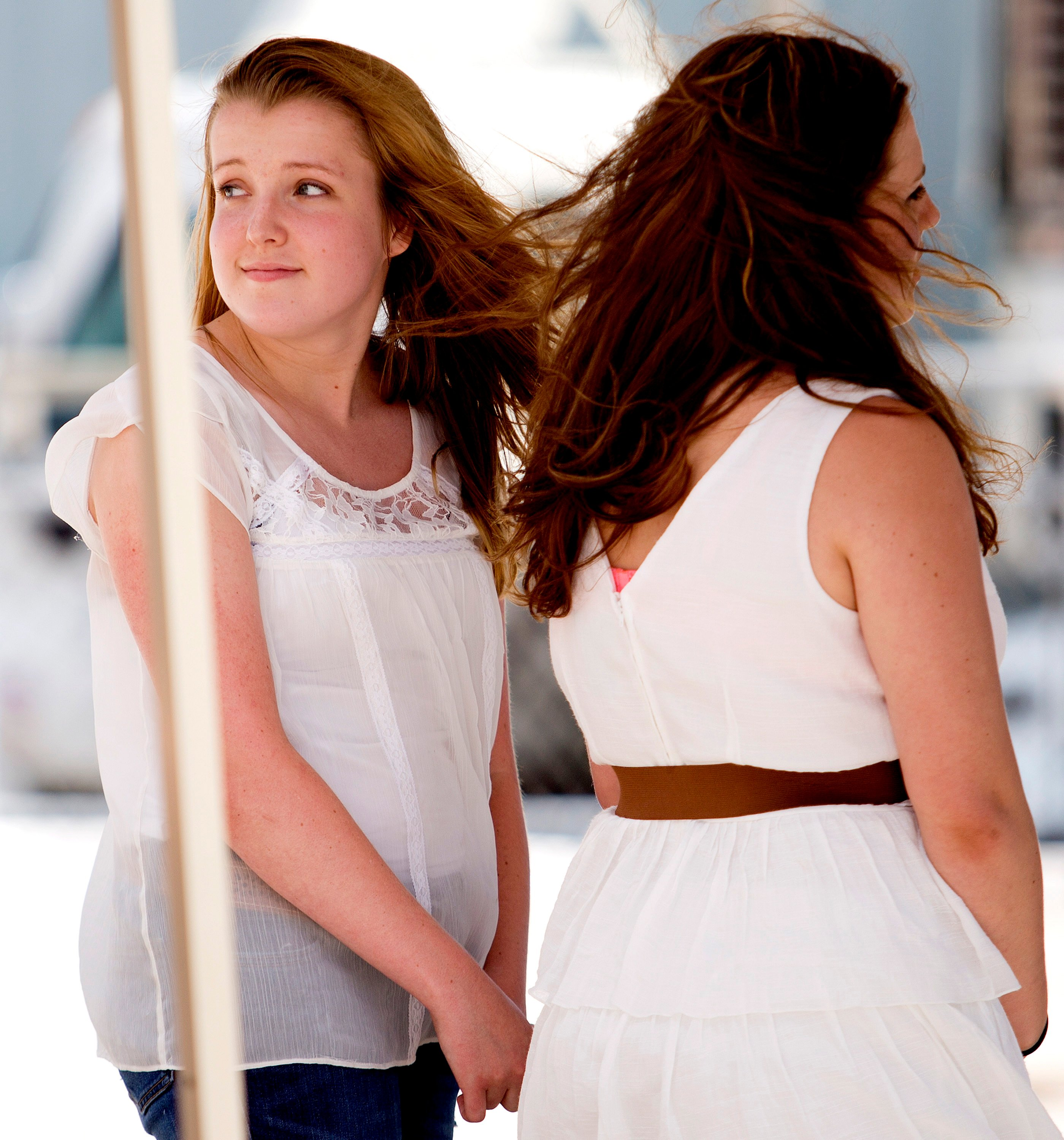 "Abigail Day, 17, of Cornish, looks back toward her mother after auditioning for ""American Idol"" on the Maine State Pier in Portland on Wednesday."