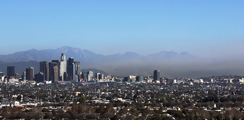 The Los Angeles skyline, with downtown seen at left. The Associated Press