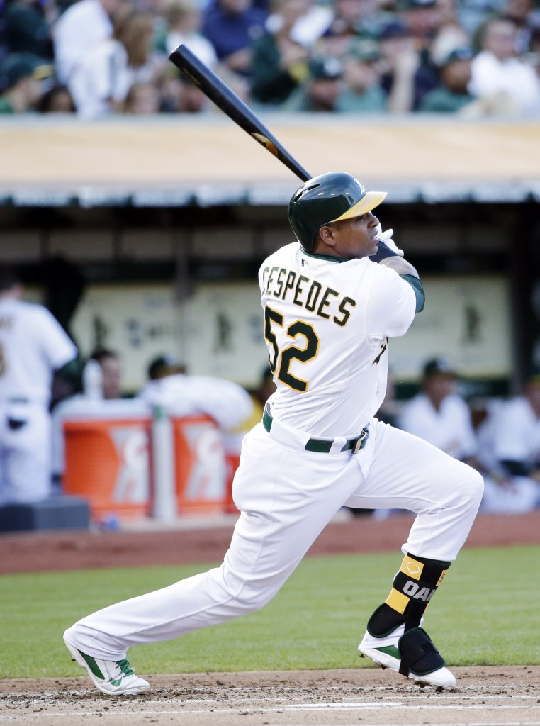 Oakland Athletics' outfielder Yoenis Cespedes, a right-handed power hitter, is on his way to Boston in a trade involving Jon Lester.