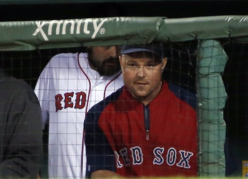 Red Sox pitcher Jon Lester watches from the dugout during a game against the  Blue Jays at Fenway Park Tuesday night. The Associated Press