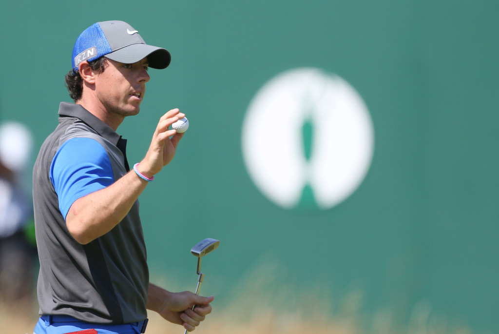Rory McIlroy finishes his first round in the British Open on Thursday with a 6-under-par 66, good for the lead in the tournament at the Royal Liverpool golf club.