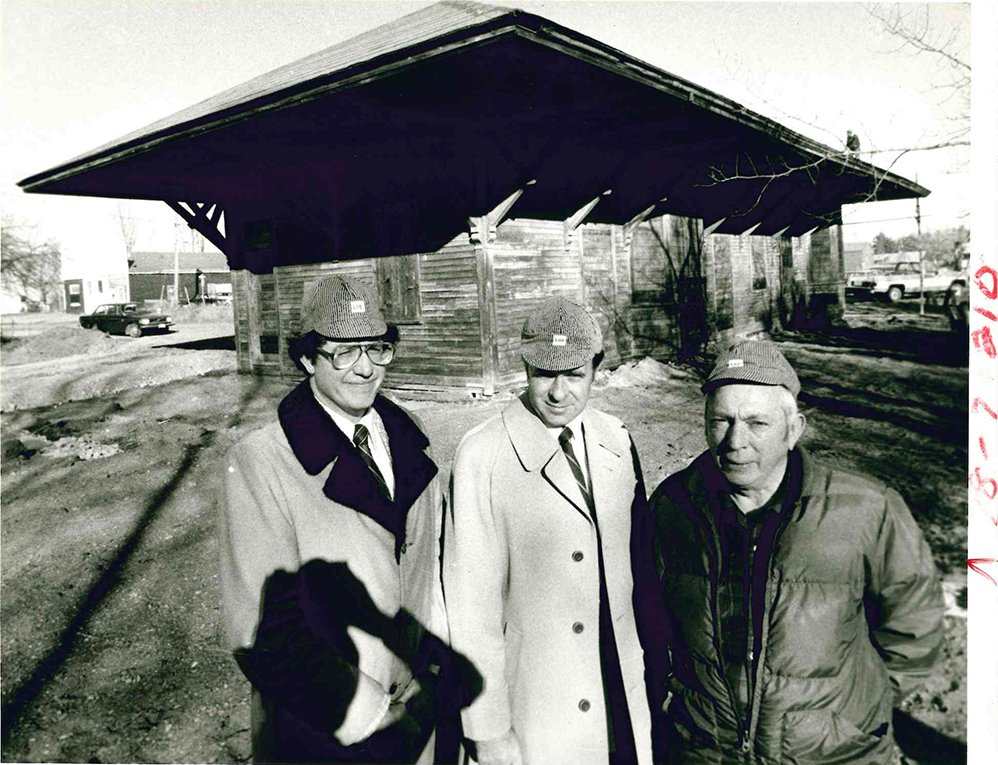 In this December 1979 photograph, Gorham's Elm Street railroad station, built in 1853, is shown shortly before its renovation into The Gorham Station, a 90-seat restaurant. From left:  Gorham Town Manager Donald Gerrish, restaurant owner Richard Groton and Town Council chairman C. Russell  Boothby.