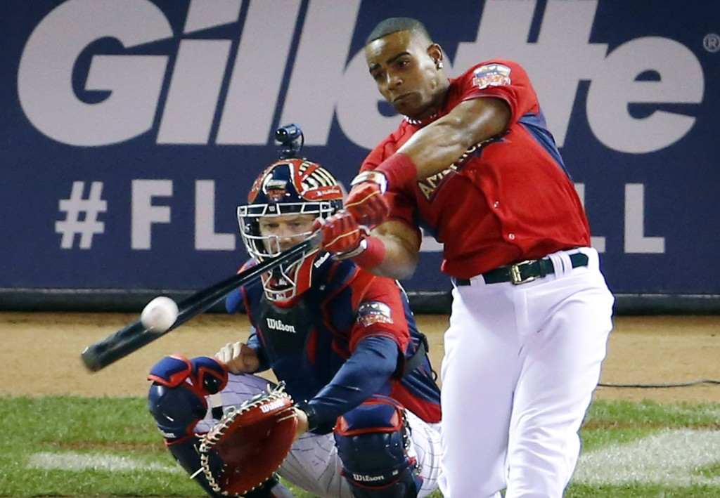 Yoenis Cespedes of the Oakland Athletics hits during the final round of the MLB All-Star baseball Home Run Derby on Monday, on his way to winning the contest for the second straight year.
