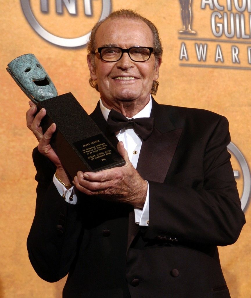 James Garner holds the 41st annual life achievement award backstage at the 11th annual Screen Actors Guild Awards on Feb. 5, 2005 The Associated Press