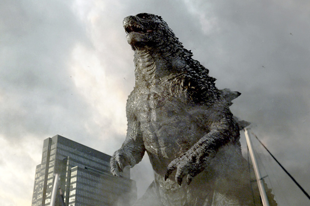 """This shows Godzilla in a scene from Hollywood's """"Godzella"""" released by 2014 Legendary Pictures Funding, LLC and Warner Bros. Entertainment Inc."""