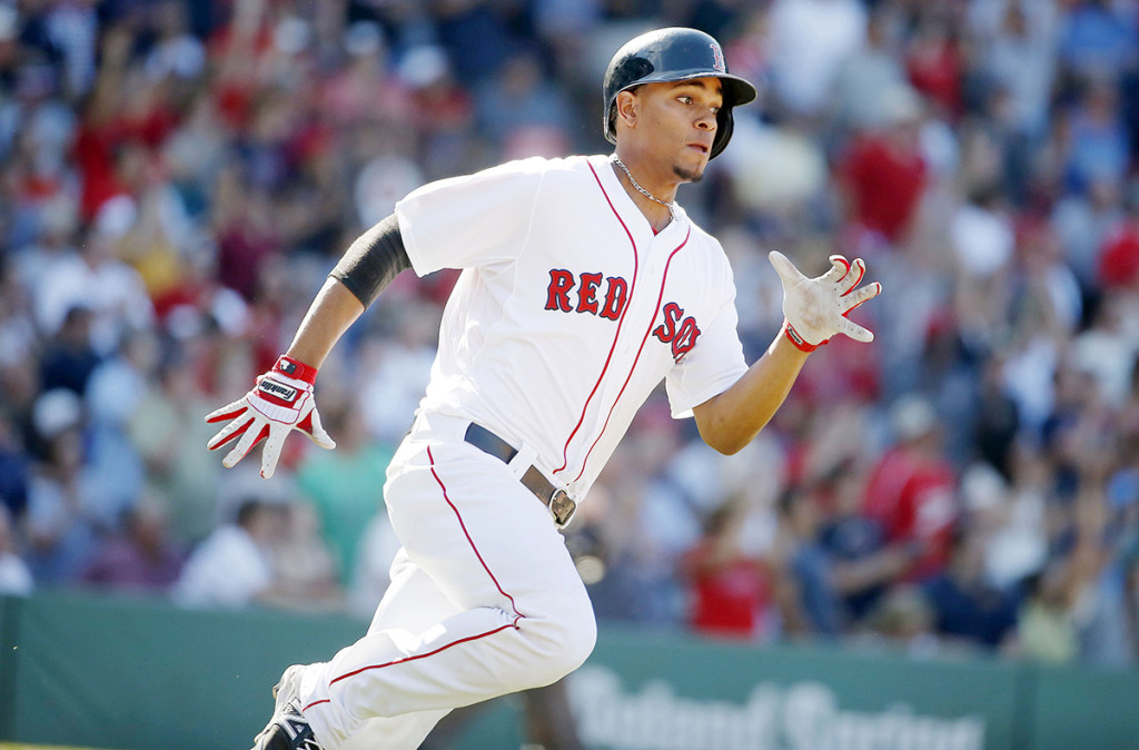Xander Bogaerts runs out an RBI single against the Baltimore Orioles. The Associated Press