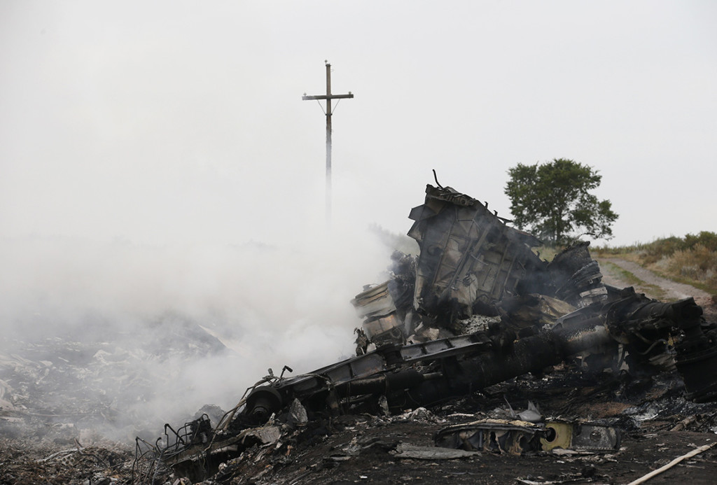 The site of a Malaysia Airlines Boeing 777 plane crash is seen near the settlement of Grabovo.
