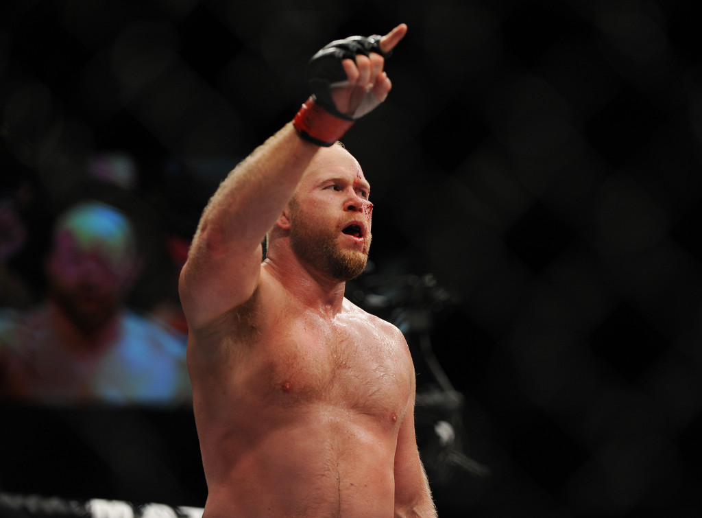 Tim Boetsch celebrates after defeating Brad Tavares in the middleweight bout. Kevin Bennett/Special to the Telegram