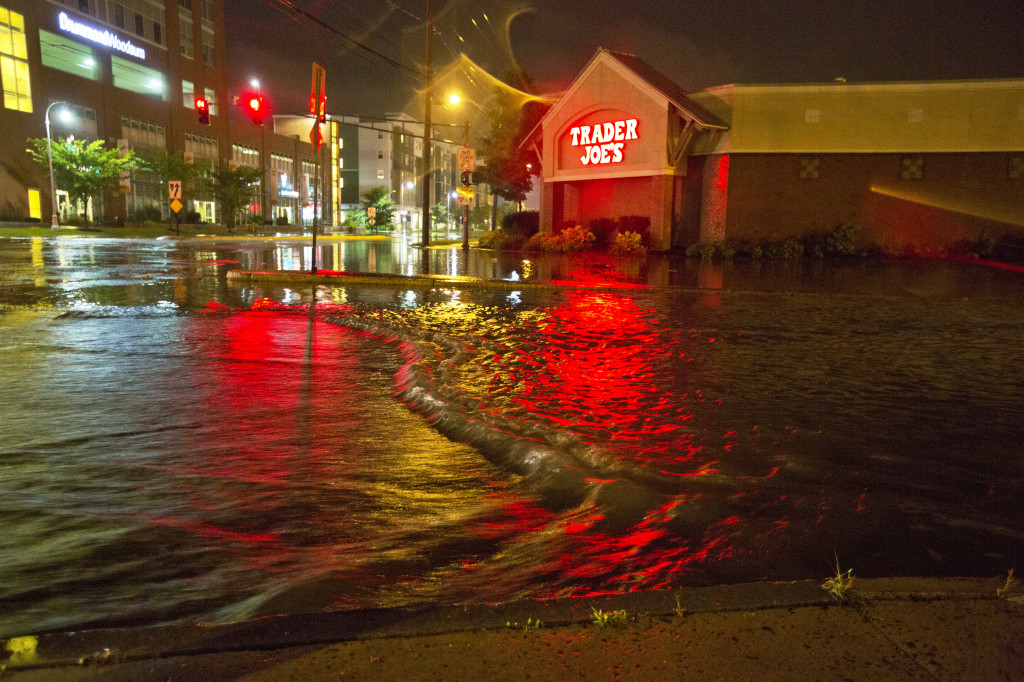 Floodwaters submerge Preble Street at Marginal Way in Portland during a storm on Aug. 13, 2014.