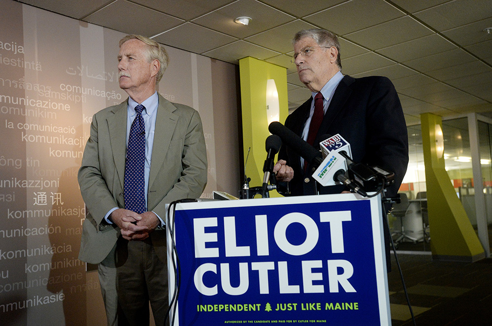 U.S. Sen. Angus King answers questions with independent candidate for governor Eliot Cutler after King endorsed Cutler on Monday.