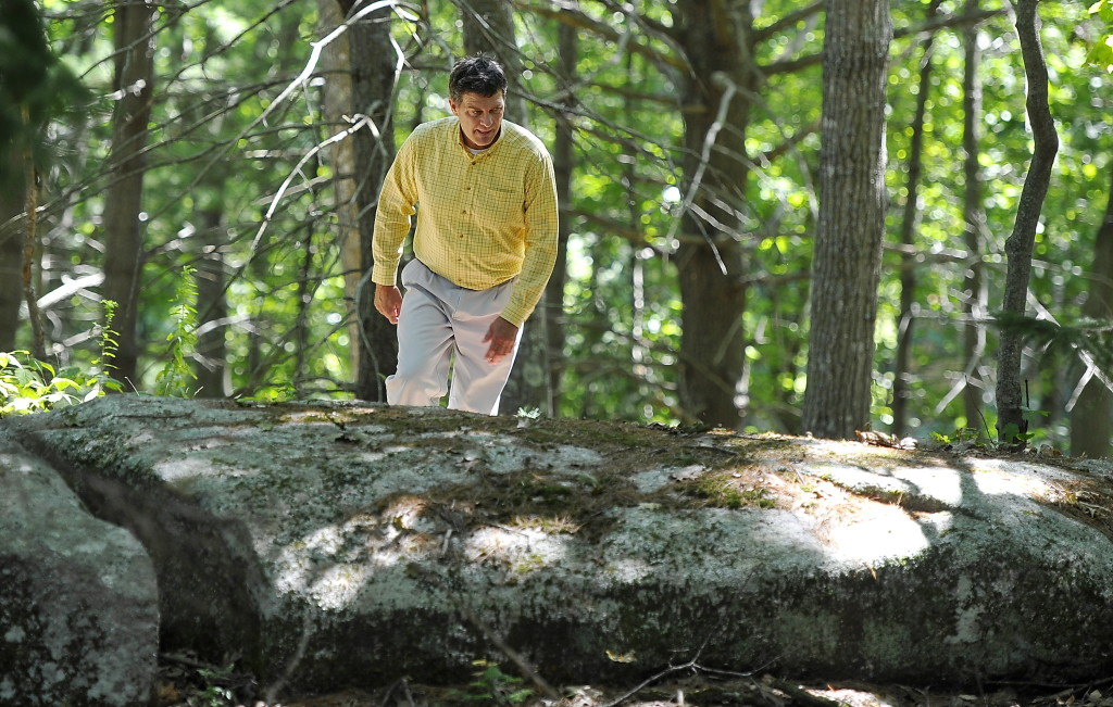 Lincoln Merrill hikes up the rugged Yarmouth part of the West Side Trail during his lunch break almost daily. He is president of Patriot Insurance that has a connector trail running by his place of business in Cumberland Foreside.