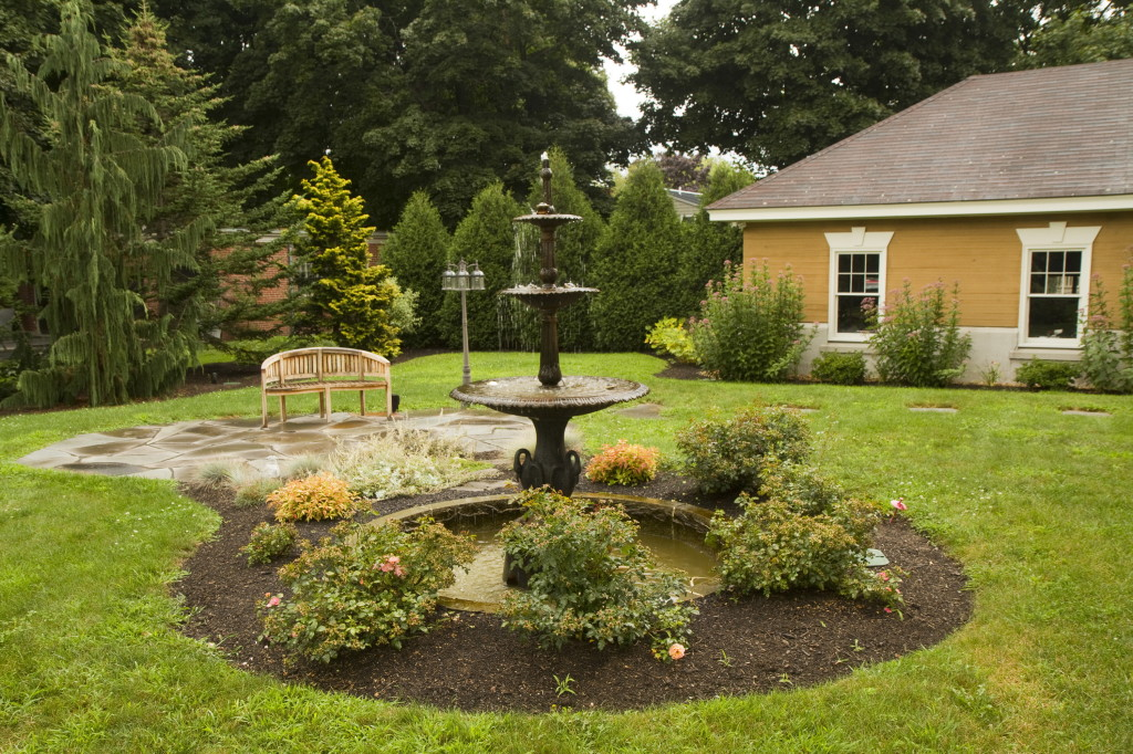 A fountain is one of the property's exterior centerpieces. The estimated annual taxes on the property are $25,957. Carl D. Walsh / Staff Photographer