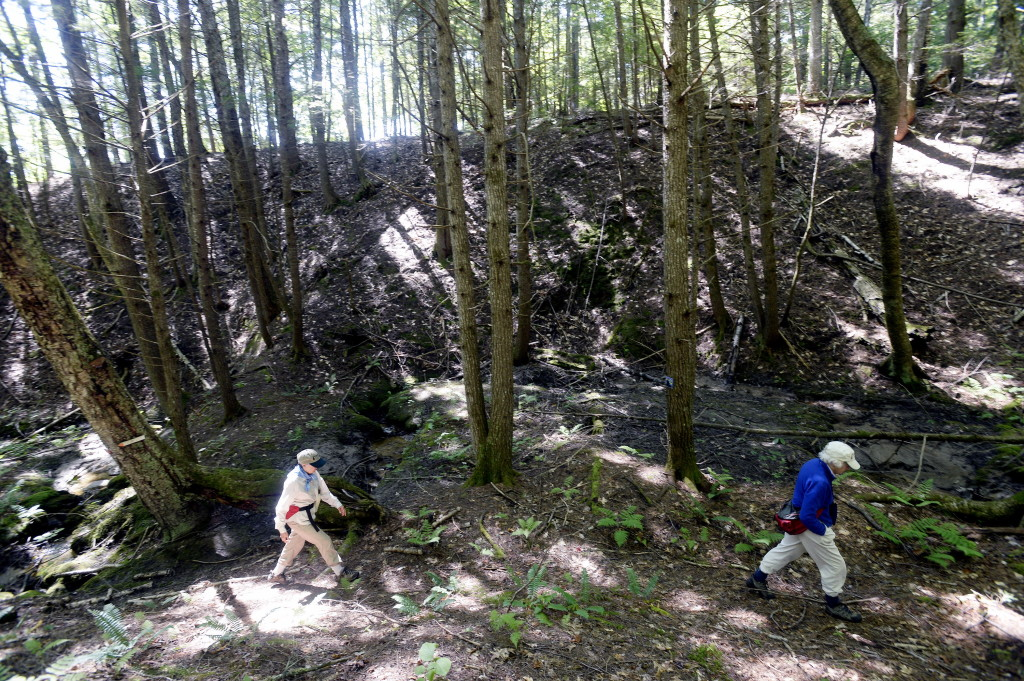 Hikers make their way through a ravine in the Kezar River Preserve in Lovell on Wednesday.