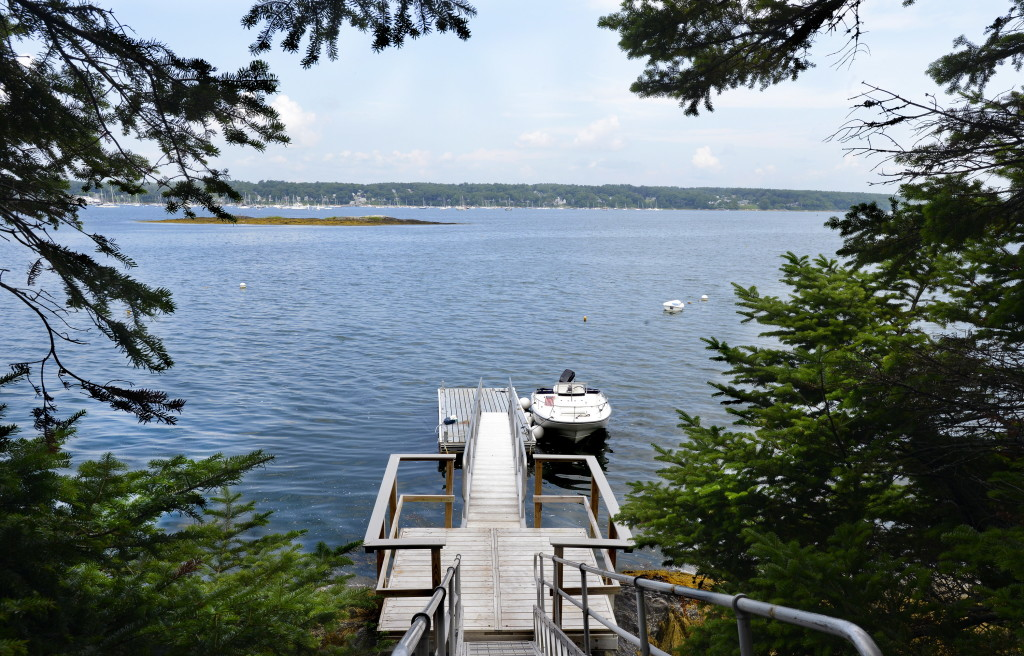 The dock and the view of Falmouth from the property that Mark Small of Portside Real Estate Group is listing on Clapboard Island in Casco Bay.