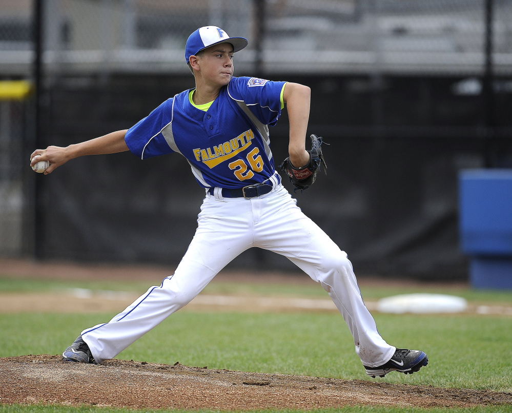 Falmouth's Alexander Smith pitches against New Hampshire at Breen Field in Bristol, Connecticut, on Friday.