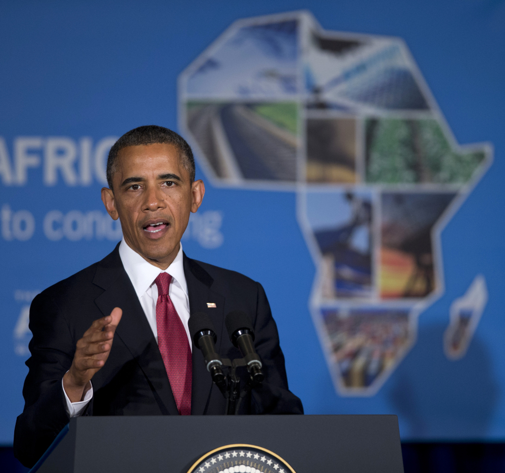 President Barack Obama speaking at a business forum aimed at increasing investment in Africa, in Dar Es Salaam, Tanzania in July, 2013. Obama is gathering nearly 50 African heads of state in Washington for an unprecedented summit aimed in part at building his legacy on a continent where his commitment has been questioned.