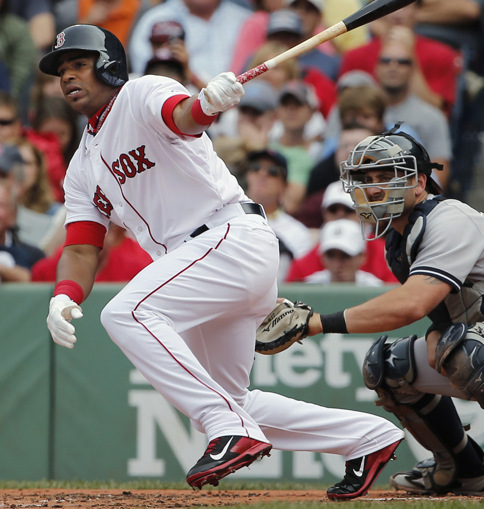 Yoenis Cespedes follows through Saturday on a single to left in his first at-bat as a member of the Red Sox. Cespedes went 1 for 4.