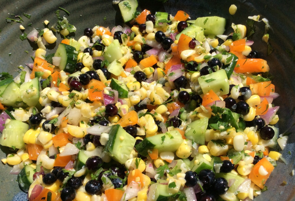 Corn, cucumber and Maine blueberry salad