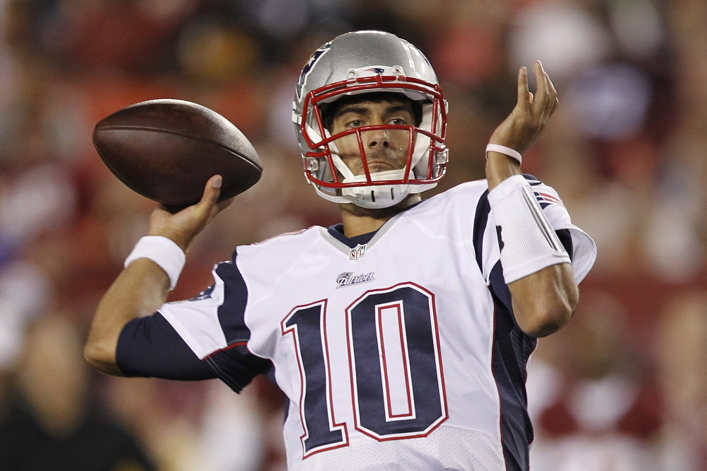 Jimmy Garoppolo, the second-round draft pick for the New England Patriots, came through Thursday night in his first game experience with the team, playing the second half of an exhibition against Washington and hitting 9 of 13 passes for 157 yards and a score. The Associated Press