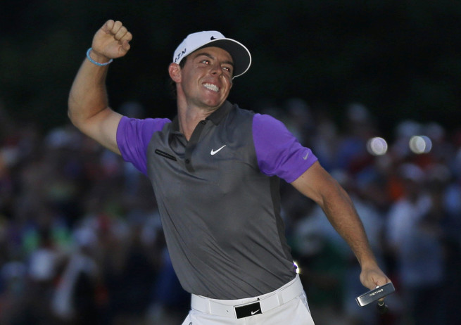 Rory McIlroy celebrates after winning the PGA Championship on Sunday at Valhalla Golf Club in Louisville, Ky.