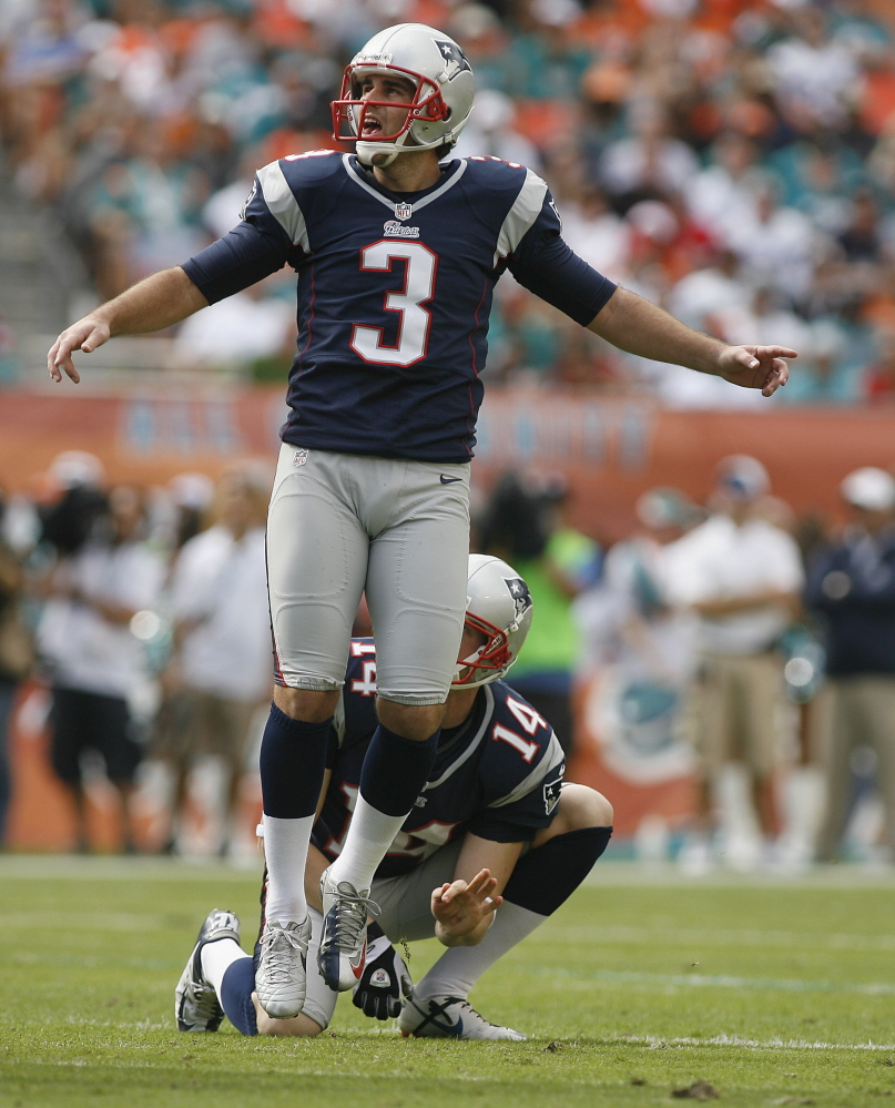 Stephan Gostkowski has been so good kicking for the New England Patriots that teammates don't even consider he may miss. Last year his missed field goals were from 55, 48 and 43 yards.
