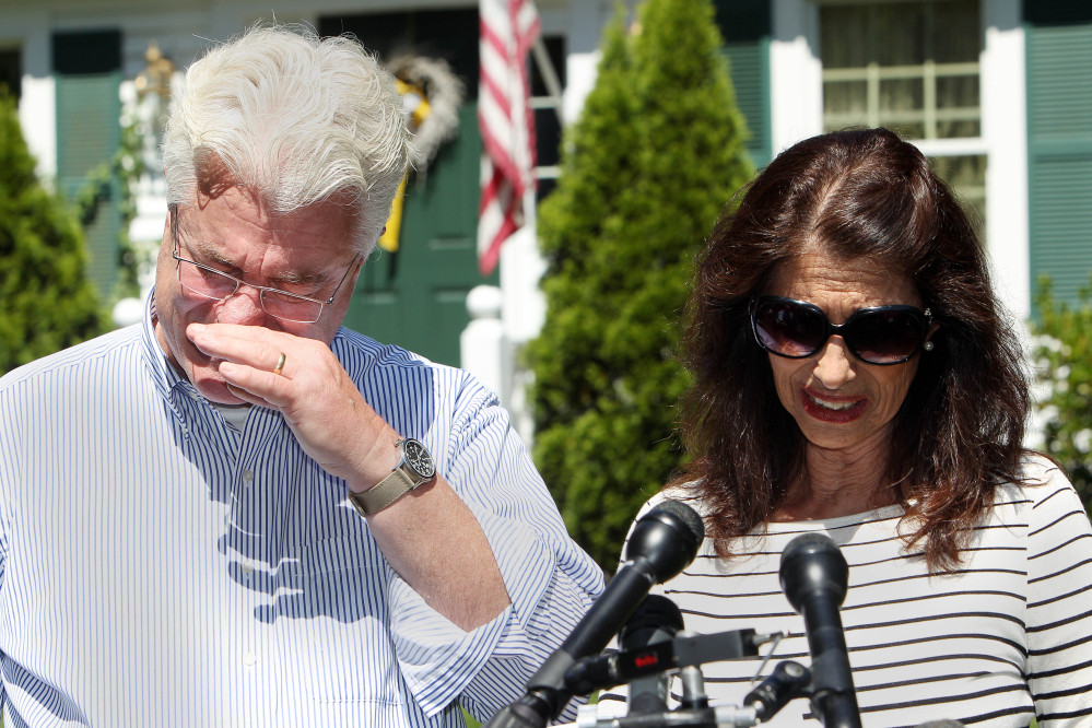 "The Associated Press John and Diane Foley talk to reporters after speaking with President Obama on Wednesday outside their home in Rochester, N.H. Their son, James Foley was abducted in November 2012 while covering the Syrian conflict and executed by Islamic extremists. Diane Foley called him ""an extraordinary son, journalist and person."""